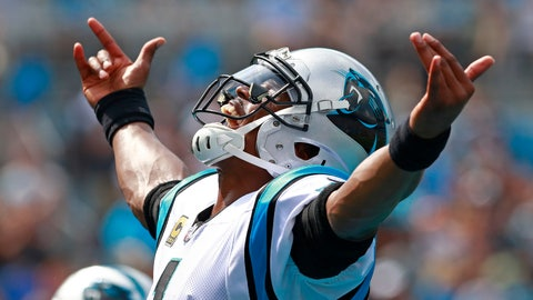 <p>               Carolina Panthers' Cam Newton (1) reacts to his touchdown pass against the Cincinnati Bengals during the first half of an NFL football game in Charlotte, N.C., Sunday, Sept. 23, 2018. (AP Photo/Jason E. Miczek)             </p>