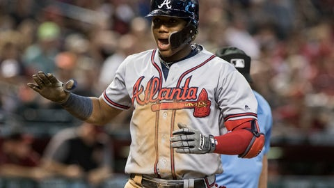<p>               Atlanta Braves' Ronald Acuna celebrates after hitting a two-run home run off Arizona Diamondbacks' Robbie Ray during the sixth inning of a baseball game Sunday, Sept 9, 2018, in Phoenix. (AP Photo/Darryl Webb)             </p>