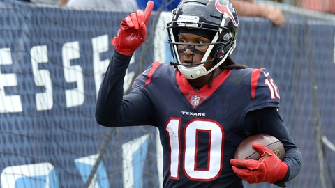 <p>               Houston Texans wide receiver DeAndre Hopkins celebrates after scoring a touchdown on a 28-yard play against the Tennessee Titans in the first half of an NFL football game Sunday, Sept. 16, 2018, in Nashville, Tenn. (AP Photo/Mark Zaleski)             </p>