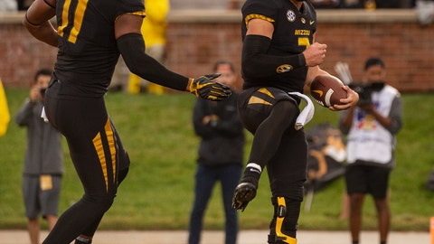 <p>               Missouri quarterback Drew Lock, right, celebrates with teammate Kendall Blanton, left, after scoring a touchdown during the first half of an NCAA college football game against Wyoming, Saturday, Sept. 8, 2018, in Columbia, Mo. (AP Photo/L.G. Patterson)             </p>