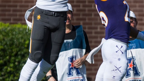 <p>               North Carolina A&T's Zachary Leslie, left, makes the catch for a touchdown while being defended by East Carolina's Colby Gore during an NCAA college football game Sunday, Sept. 2, 2018, in Greenville, N.C. (Molly Mathis/The Daily Reflector via AP)             </p>