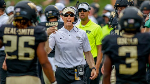 <p>               Wake Forest coach Dave Clawson talks to his players in the first half of an NCAA college football game against Towson in Winston-Salem, N.C., Saturday, Sept. 8, 2018. (AP Photo/Nell Redmond)             </p>