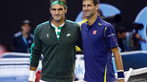 <p>               FILE - In this Jan. 28, 2016, file photo, Roger Federer, left, of Switzerland and Novak Djokovic, right, of Serbia, pose for a photo ahead of their semifinal match at the Australian Open tennis championships in Melbourne, Australia. The pair will team up for the first time when they take on Jack Sock and Kevin Anderson in doubles on the first day of the second edition of the Laver Cup on Friday in Chicago. (AP Photo/Aaron Favila, File)             </p>