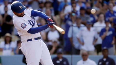 <p>               Los Angeles Dodgers' Matt Kemp drives in two runs with a double during the ninth inning of a baseball game against the Arizona Diamondbacks on Sunday, Sept. 2, 2018, in Los Angeles, giving the Dodgers a 3-2 win. (AP Photo/Marcio Jose Sanchez)             </p>