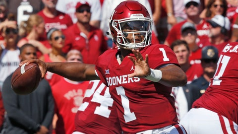 <p>               Oklahoma quarterback Kyler Murray (1) throws in the first half of an NCAA college football game against Florida Atlantic in Norman, Okla., Saturday, Sept. 1, 2018. (AP Photo/Sue Ogrocki)             </p>