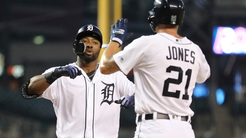 <p>               Detroit Tigers' Christin Stewart, left, is greeted by JaCoby Jones at home plate after both scored on Stewart's two-run home run during the first inning of a baseball game against the Kansas City Royals, Thursday, Sept. 20, 2018, in Detroit. (AP Photo/Carlos Osorio)             </p>