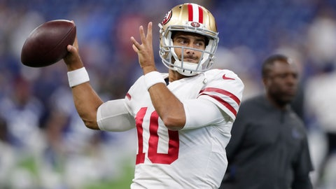 <p>               FILE - In this Saturday, Aug. 25, 2018 file photo, San Francisco 49ers quarterback Jimmy Garoppolo (10) throws before an NFL preseason football game against the Indianapolis Colts in Indianapolis. When Jimmy Garoppolo got thrown into the lineup as San Francisco's quarterback just weeks after joining the 49ers, simply getting a play off in time was an accomplishment. Garoppolo overcame that limited knowledge of coach Kyle Shanahan's offense to put together an impressive 5-0 finish to the season as one of the NFL's most productive quarterbacks down the stretch.(AP Photo/Michael Conroy, File)             </p>