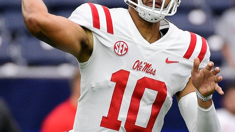 <p>               Mississippi quarterback Jordan Ta'amu throws a pass during the first half of a college football game against Texas Tech , Saturday, Sept. 1, 2018, in Houston. (AP Photo/Eric Christian Smith)             </p>