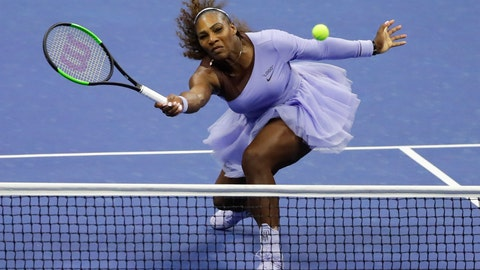<p>               Serena Williams returns a shot to Anastasija Sevastova, of Latvia, during the semifinals of the U.S. Open tennis tournament, Thursday, Sept. 6, 2018, in New York. (AP Photo/Frank Franklin II)             </p>