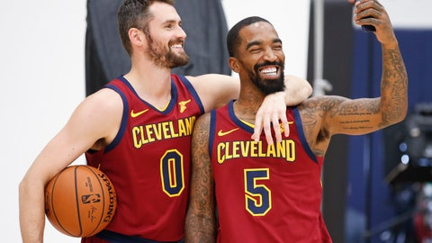 <p>               Cleveland Cavaliers' Kevin Love (0) and J.R. Smith (5) take a picture together during the NBA basketball team's media day, Monday, Sept. 24, 2018, in Independence, Ohio. (AP Photo/Ron Schwane)             </p>