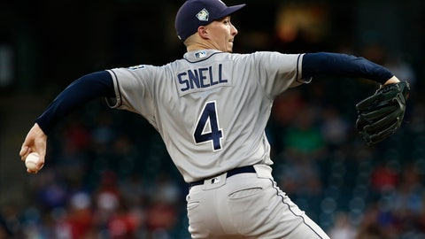 <p>               Tampa Bay Rays starting pitcher Blake Snell delivers against the Texas Rangers during the first inning of a baseball game Wednesday, Sept. 18, 2018, in Arlington, Texas. (AP Photo/Mike Stone)             </p>