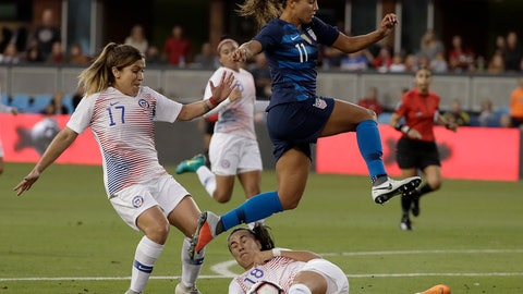 <p>               United States' Mallory Pugh (11) jumps over Chile's Camila Saez (18) and past Geraldine Leyton (17) during the first half of an international friendly soccer match in San Jose, Calif., Tuesday, Sept. 4, 2018. (AP Photo/Jeff Chiu)             </p>