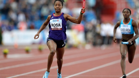 <p>               Victoria Christina Rosa of the Brazil, competing for the Americas, crosses the finish line ahead of second place Dina Asher-Smith of Britain, competing for Europe, to win the women's 4x100 meters relay at the IAAF track and field Continental Cup in Ostrava, Czech Republic, Saturday, Sept. 8, 2018. (AP Photo/Petr David Josek)             </p>