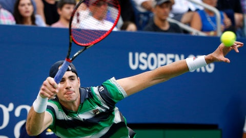 <p>               John Isner, of the United States, returns a shot to Milos Raonic, of Canada, during the fourth round of the U.S. Open tennis tournament, Sunday, Sept. 2, 2018, in New York. (AP Photo/Jason DeCrow)             </p>