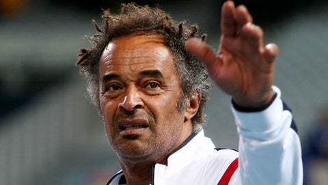 <p>               French team captain Yannick Noah gestures during the Davis Cup draw, Thursday, Sept.13, 2018 in Lille, northern France. France will play Spain from Friday to Sunday in the Davis Cup semifinal. (AP Photo/Michel Spingler)             </p>
