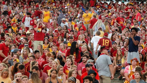<p>               Fans are asked to leave the stadium after lightning was spotted during as Iowa State takes on South Dakota State in an NCAA college football game, Saturday, Sept. 1, 2018, in Ames, Iowa. (AP Photo/Matthew Putney)             </p>
