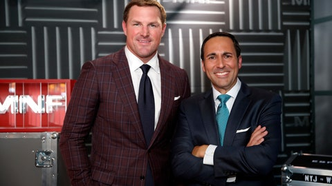 "<p>               In this Thursday, Aug. 16, 2018, file photo, former NFL player and now analyst Jason Witten, left, and play-by-play commentator Joe Tessitore pose for a photograph before their ESPN telecast of a preseason NFL football game between the Washington Redskins and the New York Jets in Landover, Md. Witten holds one of the most prominent television jobs in the sport as the lead analyst for Monday Night Football."" Witten is approaching his new role in similar fashion as he did his old one when his comprehensive film work made him the second most productive tight end in NFL history. (AP Photo/Alex Brandon, File)             </p>"