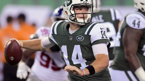 <p>               FILE - In this Aug. 24, 2018, file photo, New York Jets quarterback Sam Darnold (14) steps back to throw against the New York Giants during the second quarter of an NFL preseason football game, in East Rutherford, N.J. Darnold will start at quarterback in the New York Jets' season-opening game at Detroit on Monday night. The 21-year-old Darnold will be the youngest quarterback to start in Week 1 since the 1970 NFL-AFL merger. The announcement Monday, Sept. 3, 2018, by coach Todd Bowles comes as no surprise as the rookie was solid while starting the Jets' second and third preseason games.(AP Photo/Bill Kostroun, File)             </p>