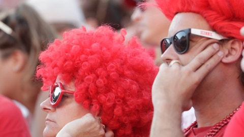 <p>               Wisconsin fans watch during the second half of an NCAA college football game against BYU Saturday, Sept. 15, 2018, in Madison, Wis. BYU won 24-21. (AP Photo/Morry Gash)             </p>
