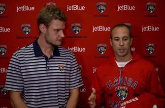 Derek MacKenzie passes the Panthers 'C' to Aleksander Barkov