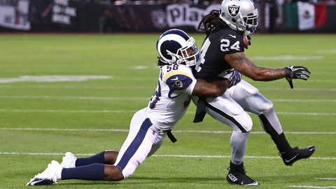 <p>               Oakland Raiders running back Marshawn Lynch is tackled by Los Angeles Rams linebacker Cory Littleton (58) during the first half of an NFL football game in Oakland, Calif., Monday, Sept. 10, 2018. (AP Photo/Ben Margot)             </p>