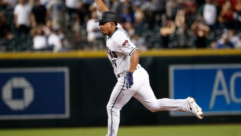 <p>               Arizona Diamondbacks' Eduardo Escobar rounds the bases after hitting a walk-off home run against the Los Angeles Dodgers during a baseball game Tuesday, Sept. 25, 2018, in Phoenix. The Diamondbacks won 4-3. (AP Photo/Matt York)             </p>
