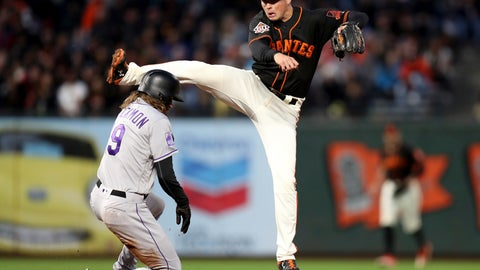 <p>               San Francisco Giants second baseman Joe Panik (12) forces out Colorado Rockies center fielder Charlie Blackmon (19) and completes a double play in the fourth inning of a baseball game in San Francisco, Saturday, Sept. 15, 2018. (AP Photo/Scot Tucker)             </p>