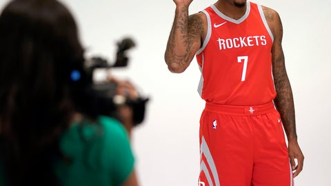 <p>               Houston Rockets' Carmelo Anthony (7) poses for a photographer during media day Monday, Sept. 24, 2018, in Houston. (AP Photo/David J. Phillip)             </p>