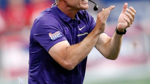 <p>               Washington head coach Chris Peterson yells to his players in the first half of an NCAA college football game against Auburn, Saturday, Sept. 1, 2018, in Atlanta. (AP Photo/John Bazemore)             </p>