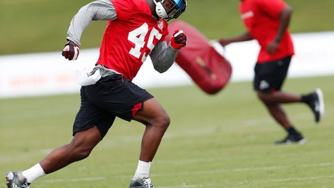 <p>               FILE - In this June 13, 2018 file photo Atlanta Falcons linebacker Deion Jones (45) runs during NFL football minicamp in Flowery Branch, Ga. The Falcons have placed Jones on injured reserve, taking a second 2017 Pro Bowler from the defense in less than a week. Jones hurt his foot in the team's 18-12 opening loss at Philadelphia. In a statement released by the team, Falcons coach Dan Quinn said Monday, Sept. 10, 2018 that Jones will require surgery but is expected to return this season. (AP Photo/John Bazemore, file)             </p>