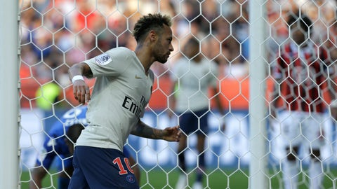 <p>               Paris Saint Germain's Neymar, celebrates after scoring his side's second goal, during the League One soccer match between Nice and Paris Saint-Germain at the Allianz Riviera stadium in Nice, southern France, Saturday, Sept. 29, 2018. (AP Photo/Claude Paris)             </p>