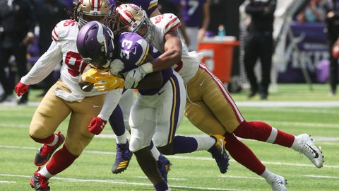 <p>               Minnesota Vikings running back Dalvin Cook (33) fumbles the ball as he is tackled by San Francisco 49ers linebacker Fred Warner, right, during the first half of an NFL football game, Sunday, Sept. 9, 2018, in Minneapolis. (AP Photo/Jim Mone)             </p>