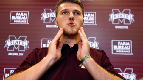 <p>               FILE - In this Aug. 11, 2018, file photo, Mississippi State quarterback Nick Fitzgerald speaks during the team's media day in Starkville, Miss. Fitzgerald, suspended for last weekend's season opener, is expected to start on Saturday, Sept. 8, 2018, against Kansas State. (AP Photo/Rogelio V. Solis, File)             </p>