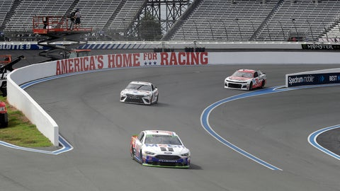 <p>               Clint Bowyer (14), Daniel Suarez (19) and Ryan Newman (31) drive their cars on the road course during a NASCAR Cup Series auto race practice at Charlotte Motor Speedway in Concord, N.C., Friday, Sept. 28, 2018. (AP Photo/Chuck Burton)             </p>