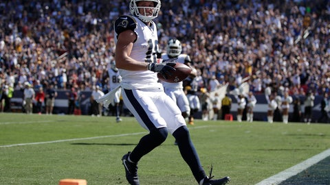 <p>               Los Angeles Rams wide receiver Cooper Kupp smiles as he scores against the Los Angeles Chargers during the second half in an NFL football game Sunday, Sept. 23, 2018, in Los Angeles. (AP Photo/Jae C. Hong)             </p>