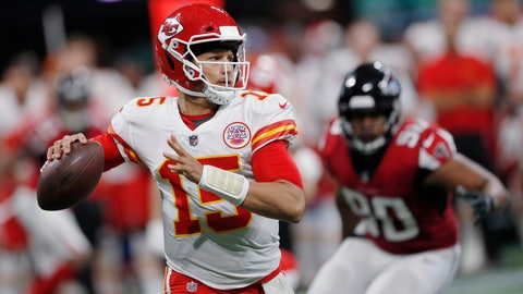 <p>               FILE - In this Aug. 17, 2018, file photo, Kansas City Chiefs quarterback Patrick Mahomes (15) looks for a receiver during the first half of the team's NFL preseason football game against the Atlanta Falcons in Atlanta. Patrick Mahomes has never lost an NFL game as the starting quarterback of the Kansas City Chiefs, beating the Broncos last season and the Chargers and Steelers to start this season. He's also never started a game at Arrowhead Stadium. That moment comes Sunday, Sept.23, 2018 against the San Francisco 49ers. (AP Photo/John Bazemore, File)             </p>