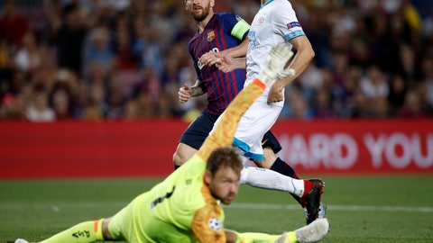<p>               Barcelona forward Lionel Messi scores his side's fourth goal during the group B Champions League soccer match between FC Barcelona and PSV Eindhoven at the Camp Nou stadium in Barcelona, Spain, Tuesday, Sept. 18, 2018. (AP Photo/Manu Fernandez)             </p>