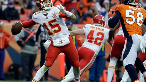 <p>               FILE - In this Dec. 31, 2017, file photo, Kansas City Chiefs quarterback Patrick Mahomes (15) throws against the Denver Broncos during the second half of an NFL football game in Denver. The differences between Patrick Mahomes and Alex Smith are undeniable, one of them an up-and-coming quarterback with a big arm and little experience, the other the consummate game manager whose ability to avoid mistakes has served him well over the years. There are also some similarities, though. (AP Photo/Jack Dempsey, File)             </p>