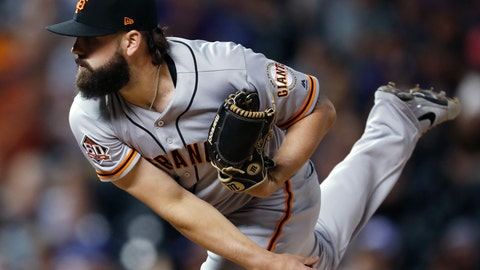 <p>               San Francisco Giants relief pitcher Casey Kelly watches a delivery to a Colorado Rockies batter during the eighth inning of a baseball game Tuesday, Sept. 4, 2018, in Denver. The Rockies won 6-2. (AP Photo/David Zalubowski)             </p>