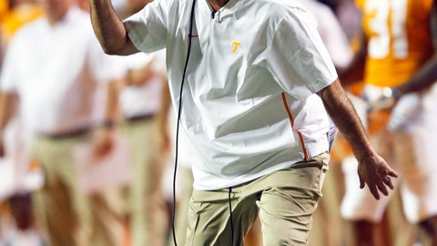 <p>               Tennessee head coach Jeremy Pruitt reacts to a play in the second half of an NCAA college football game against Florida, Saturday, Sept. 22, 2018, in Knoxville, Tenn. (AP Photo/Wade Payne)             </p>