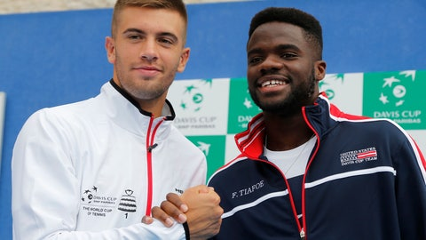<p>               Croatia's Borna Coric, left and United States' Frances Tiafoe pose for cameras after the draw ahead of Davis Cup semifinal matches between Croatia and the United States in Zadar, Croatia, Thursday, Sept. 13, 2018. (AP Photo/Darko Bandic)             </p>