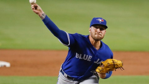 <p>               Toronto Blue Jays starting pitcher Sean Reid-Foley delivers during the first inning of a baseball game against the Miami Marlins, Sunday, Sept. 2, 2018, in Miami. (AP Photo/Brynn Anderson)             </p>