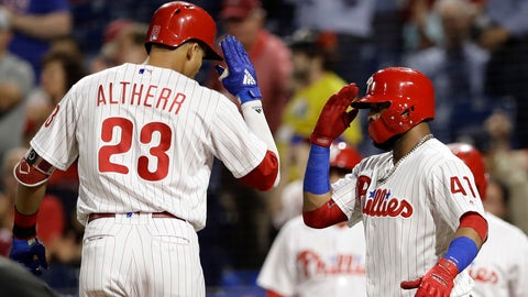 <p>               Philadelphia Phillies' Aaron Altherr, left, and Carlos Santana celebrate after Altherr's two-run home off Miami Marlins starting pitcher Wei-Yin Chen during the second inning of a baseball game, Friday, Sept. 14, 2018, in Philadelphia. (AP Photo/Matt Slocum)             </p>