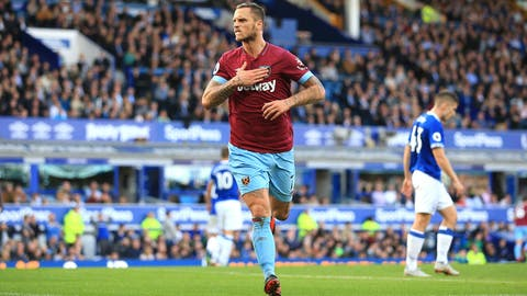 <p>               West Ham United's Marko Arnautovic celebrates scoring his side's third goal of the game,  during the English Premier League soccer match between Everton and West Ham United, at Goodison Park, Liverpool, England, Sunday Sept. 16, 2018. (Peter Byrne/PA via AP)             </p>