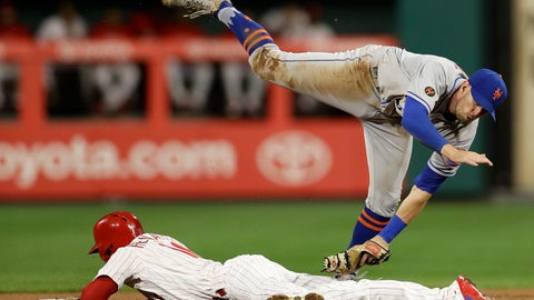 <p>               New York Mets second baseman Jeff McNeil, top, cannot reach Philadelphia Phillies' Cesar Hernandez as Hernandez steals second during the first inning of a baseball game Tuesday, Sept. 18, 2018, in Philadelphia. (AP Photo/Matt Slocum)             </p>