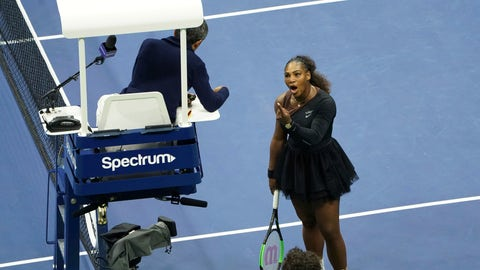<p>               Serena Williams argues with the chair umpire during a match against Naomi Osaka, of Japan, during the women's finals of the U.S. Open tennis tournament at the USTA Billie Jean King National Tennis Center, Saturday, Sept. 8, 2018, in New York. (Photo by Greg Allen/Invision/AP)             </p>