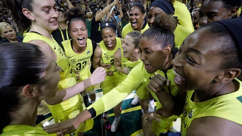 <p>               Seattle Storm players gather in a celebratory huddle after a 94-84 win over the Phoenix Mercury during Game 5 of a WNBA basketball playoff semifinal, Tuesday, Sept. 4, 2018, in Seattle. The Storm advanced to the WNBA finals. (AP Photo/Elaine Thompson)             </p>