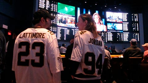 <p>               Football fans wait for kickoff in the sports betting lounge at the Ocean Resort Casino in Atlantic City, N.J., where an hour-long line of gamblers waiting to place bets stretched onto the casino floor as kickoff approached on Sunday Sept. 9, 2018, the first full day of NFL football since New Jersey began offering sports betting in June. (AP Photo/Wayne Parry)             </p>