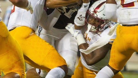 <p>               Texas A&M quarterback Kellen Mond (11) carries the ball for a touchdown as Louisiana Monroe safety Collin Turner (3) tries to tackle him during the first half of an NCAA college football game Saturday, Sept. 15 2018, in College Station, Texas. (AP Photo/Sam Craft)             </p>