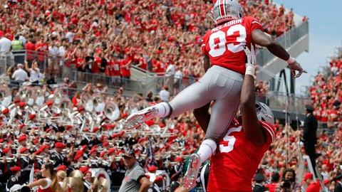 <p>               Ohio State receiver Terry McLaurin is lifted in celebration by teammate Jaylen Harris after scoring a touchdown against Oregon State during the first half of an NCAA college football game Saturday, Sept. 1, 2018, in Columbus, Ohio. (AP Photo/Jay LaPrete)             </p>
